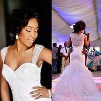 Wholesale Wedding Dress Embellishments - Popular Mermaid Bridal Gown Organza See Through Back Wedding Dresses Chapel Train Ruffles Custom Made Bridal Gowns Beads Embellishment