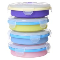 Wholesale Camping Food Containers - 5 1sf Round Foldable Silicone Lunch Boxes Candy Color Lunchbox Outdoor Camping Hiking Picnic Silica Gel Bento Box Container Safe R