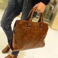 Wholesale Leather Handbag For Tablet - High Quality PU Leather Bag Men Briefcase Leisure Handbag Men Shoulder Bag Tote Business Casual Tote for Tablet PC AP172
