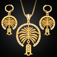 Nova Jóia do Oriente Médio Jóias de ouro 18K Set Dubai Palm Island Diamond Lady Necklace Earrings 2pcs Set Jewellery Wholesale