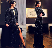 Wholesale Straight Slit Prom Dresses - 2017 Sexy Evening Dresses Black High Side Slit Long Sleeve Straight Beaded Rhinestones Chiffon Prom Dresses Party Gowns Pageant Custom Made