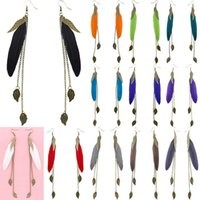 Wholesale Teal Feather Wholesale - Feather Earrings 12 Colors wholesale lots Cute Bronze Leaf Chain Light Dangle Eardrop Hot (White Black Brown Teal Purple Red Orange) (JF118)