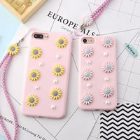 Wholesale Pearl Iphone Case Cover - Lovely 3D Sunflower Soft Cover Case For iPhone 7 7 Plus Case Pearl TPU Cases Coque For iPhone7 7 Plus 6 6S Plus 6Plus