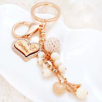 Wholesale I Love Romantic - 2017 New Originality Heart Shape I LOVE YOU with Beads Metal Keychain Keyring Car Keychains Purse Charms Handbag Pendant Best Gift