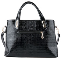 Wholesale Crocodile Leather Big Bag - Black Women Handbag Female Shoulder Messenger Bag Ladies Crocodile Artificial PU Leather Crossbody Bag Women Big Bags