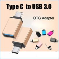 Wholesale Usb Male Otg - Metal USB 3.1 Type C Male To USB 3.0 Female OTG Adapter Converter For Macbook Google Chromebook DHL