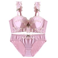 Wholesale Japanese Lolita - noble lace 1 2 cup girls sexy lingerie set side gather women bra set silk Japanese thicken with pad underwear push up intimates