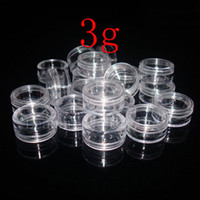 Wholesale nail art express - Express shipping Wholesale 3g empty sample transparent small round bottle jars pot,clear plastic container for nail art storage