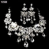 Wholesale Stud Headbands - Necklace Earrings Sets Shiny Stone Flowers New Elegant Charm Women Crow Stone Hair Clip Jewelry Accessories Metal Headband Tl009