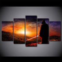 Wholesale Modern Picture Frame Set - 5 Pcs Set Framed HD Printed Star War Jedi Movie Modern Home Wall Decor Poster Canvas Art Painting Wall Pictures