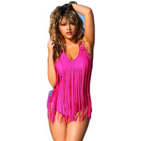 горячий розовый купальник для женщин оптовых-rose swimwear женщины Sexy hot pink One piece купальник длинные fringe цельный купальный костюм купальник костюм для купания swim wear женский C39