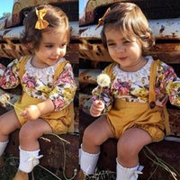 Wholesale Girls Suspenders Shorts - 2017 autumn fashion kids clothing sets baby girl floral lace romper with suspender jumpsuit 2pcs suits