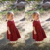 Wholesale Cheap Lace Flowergirl Dress - Burgundy Lace 2017 Country Style Flowergirl Dresses Short Sleeves Jewel Neck Vintage Flower Girl Dresses for Weddings Cheap High Quality