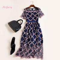 kısa lacivert kadın elbiseleri toptan satış-Pist Elbise 2017 Lacivert Kısa Kollu Örgü Çiçekler Nakış Sheer Kadınlar Elbise Bohemian Tatil Plaj Elbise M061748