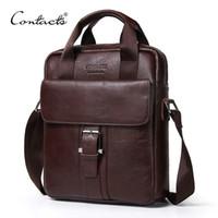 Wholesale Shoulder Handbag Casual Male Bags - CONTACT'S Genuine Leather Bag top-handle Men Bags male Shoulder Crossbody Bags Messenger Flap Casual Handbags men Leather