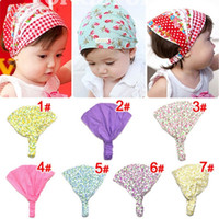 Wholesale Hair Bandage - Little girl print headbands Cotton bandana hair accessories bandage on head for Kids cut flower hairbands 20pc