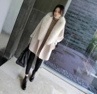 Wholesale Cheapest Women Long Winter Coat - Cheapest Coat Winter Newly Fashion Loose Fur Collar Woolen Coat Beige