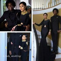 robe de course filles taille 16 achat en gros de-2017 Sexy Cheap Mermaid South African Black Girls Robe de bal Appliqued Long Sleeves Formal Pageant Evening Party Gown Plus Size Custom Made