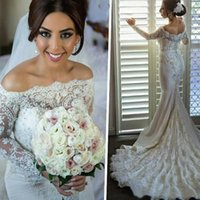Wholesale Bridal Dress China Mermaid - 2017 Arabic Ivory Lace Off The Shoulder Mermaid Wedding Dresses Elegant Long Sleeves Beaded Bridal Gowns Custom Made China EF5195