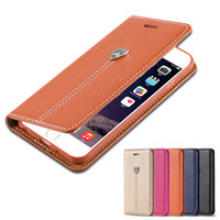 Wholesale Iphone Cases Luxury Logo - FLOVEME-0015 Luxury Flip Leather Case For iPhone 6 6s Plus 7 Case Metal Logo Stand Wallet Bag Cover For Apple iPhone 7 7 Plus Coque