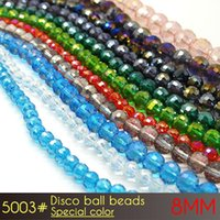 Venda a atacado barato ou a varejo Embalagem personalizada China Crystal Glass Disco Ball Beads 8mm Special Colors A5003 72pcs / set