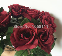 ingrosso fiori artificiali bordeaux-80pcs Borgogna Rose Flower Red 30cm Rose color vino per centrotavola sposa Bouquet sposa fiori decorativi artificiali