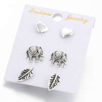 Wholesale cardboard earrings resale online - Simple combination of stud earrings set peach heart elephant tree leaves stud earrings Cardboard stud set jewelry