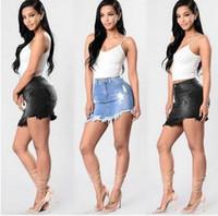 Wholesale Denim Color Skirt - 2017 Summer Denim skirt High Waist Washed Women Package hip Skirt Irregular fashion Slim Hole Jeans Shorts Plus Size Female Skirt