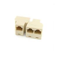 Wholesale Cat5 Splitter - Wholesale- RJ45 Splitter Connector CAT5 LAN Ethernet Splitter Adapter 8P8C Network Dual