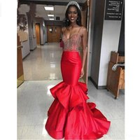 Wholesale Newest Sweetheart Mermaid Cap Sleeve - Newest Style Spaghetti Straps Crystal Mermaid Evening Dresses Sweetheart Formal Occasion Dress Long Evening Pageant Celebrity Gowns
