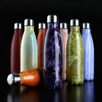 Wholesale Bicycle Double - Camouflage Cola Bottle Stainless Steel Wood grain Water Bottle 15 colors 500ml Double Wall Vacuum Coke Water Bowling Bottle Free Shipping