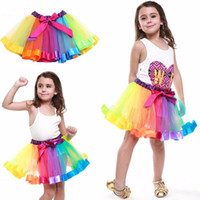 Wholesale Rainbow Ruffle Skirt - Colorful Tutu Skirt Kids Clothes Tutu Dance Wear Skirts Ballet Pettiskirts Dance Rainbow Skirt Ruffled Birthday Party Skirt LC460