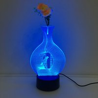 Wholesale Jars Birds - 3D Vase Bird Illusion Lamp Night Light with Flower DC 5V USB Charging AA Battery Wholesale Dropshipping Free Shipping Retail Box