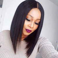 Wholesale Middle Part Malaysian Wigs - Short Straight Bob Wigs With Baby Hair Middle Part Malaysian Hair Lace Wigs G-EASY Hair Wig