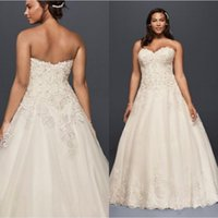Wholesale Sweetheart Neckline Tulle Wedding Dress - 2017 Plus Size A-Line Tulle Wedding Dresses Sweetheart neckline bodice with beaded applique sequins detail 9V3836 Bridal Gowns