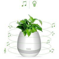 Wholesale Office Card Stock - For Home Office LED Light Bluetooth Flowerpot Support TF Card Green Plant Music Player LED Night Subwoofer in Stock Free DHL HP01