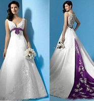 Wholesale Empire Waist Bridal Dresses - Plus Size White and Purple Wedding Dresses Empire Waist V-Neck Beads Appliques Satin Sweep Train Bridal Gowns Custom Made 2017 Hot Sale