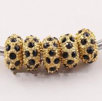 büyük altın boncuklar toptan satış-11 MM Siyah Rhinestone Kristal Boncuk, Rondelle Gevşek Paspayı, Altın Kristal Big Hole Boncuk Fit Charm Bilezikler