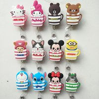Wholesale Pvc Cup Holder - 12pcs lot Cup Design Cartoon Animal Cute Retractable Badge Reel Student Nurse Exihibiton ID Name Card Badge Holder Office