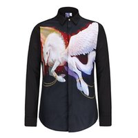 Wholesale City Single - Men Fashion Shirt Brand Denim Men 3D White Fly Horse Print Shirts High Quality Long Sleeve Men Casual Shirt City Famous Brand