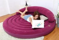 Wholesale Sofa Backrest - Wholesale- 2017 New Intex Ultra Daybed Lounge Air Bed Purple Flocked Inflatable Round Sleeping Leisure Sofa Guest Bed W  Backrest cupholder