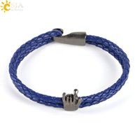 Wholesale bracelet knit for sale - CSJA Men Leather Bracelets Rock Roll I LOVE YOU Gesture Vintage Silver Charms Jewelry for Handmade Knitted Hand Jewelry Layer Bangle P001