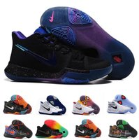 Wholesale Blue Ball Game - 2017 New Arrival Kyrie Irving 3 Signature Game Basketball Shoes Top Quality Men white black Sports Training Basket ball Sneakers Size 40-46