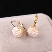 Hot Sale Lovely Wedding Ear Cuff Gold Plated Round Imitation Pearl Beads Stud Earrings para mulheres Meninas Piercing Jóias