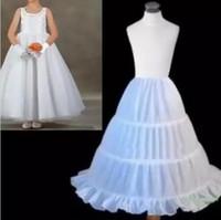 Wholesale Kids White Petticoat Skirt - 2018 Hot Sale Three Circle Hoop White Girls' Petticoats Ball Gown Children Kid Dress Slip Flower Girl Skirt Petticoat Free Shipping DA813