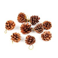 Wholesale Pine Bag - new Christmas decorations 9pcs bag cute Christmas tree Decorative natural Pine nuts DIY Party high quality Pendant Party Supplie wholesale