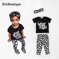 Wholesale Baby Boy Daisies - Wholesale- EABoutique Summer style letter floral daisy printed Toddler baby girl clothes set outfit +headband 3 pieces set for 1-5 Y