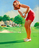 Wholesale Sexy Oil Painting Canvas - Framed GIL ELVGREN Sexy Golfer,Pure Handpainted Pinup Girl Art Oil Painting On Quality Canvas Multi Sizes Free Shipping Pin013