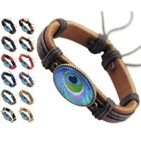 Wholesale Feather Wristband - Blue Peacock Feather Genuine Leather Bracelet Adjustable Black Brown Chain Wholesale Lots Fashion Unisex Handmade Wristband Bangle (DJ379)