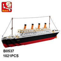Wholesale build model ships for sale - Sluban Building Blocks B0577 Toy Cruise Ship RMS Titanic Ship Boat D Model Educational Gift Toy brinquedos DIY lepin toy